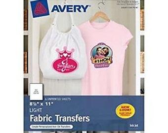 "Avery 3271 Full Sheet (Light) 6 sheets  Fabric Transfer Paper. 8 1/2"" x 11"""