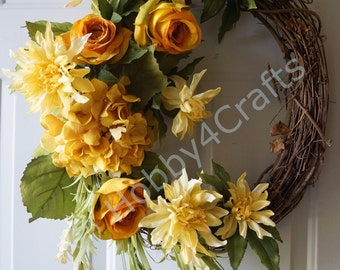 Door Wreath,Fall Wreath, Roses Chrysanthemum Wreath, Mums Wreath Original Handmade