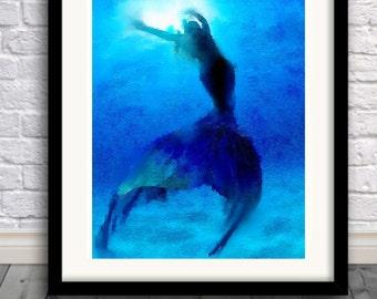 Watercolor Mermaid Painting,Beach Decor,Mermaid Tail,Mermaid  Print,Mermaid Wall Art,Mermaid Painting,Sea, Christmas Pic No 1