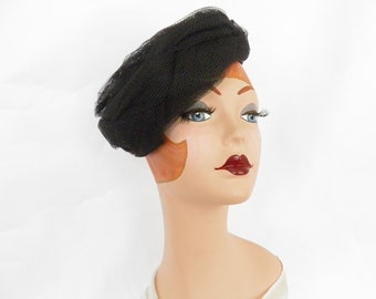 Vintage black hat, woman's 1960s, tulle