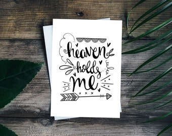 Heaven holds me | Bible verse | Christian Gift | Psalm 18:16 | Jesus Culture | Print | Hand lettering | Home Decor | Scripture | Wall Art