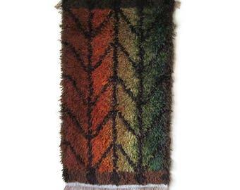 Stunning Rya Rug Scandinavian Mid Century Wool Carpet Vintage 1960s 1970s Handmade Rug Earth Tones, Green Brown Orange Yellow