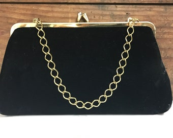 Vintage Black Velvet Clutch with Gold Metal Chain Link Handle and Kiss Clasp, Party Purse, Wedding Purse, Vintage Velvet Purse
