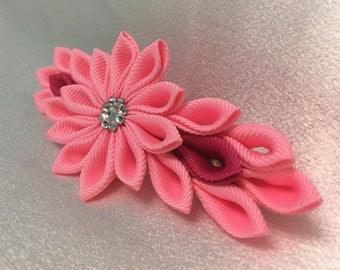 Pink Kanzashi Style French Barrette