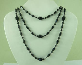 "French Jet Chain Necklace Black Hand Cut Glass Bead Long Guard Victorian 52"" 1320mm Mourning Jewelery Antique"
