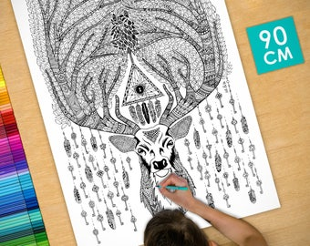 Poster / Poster deco coloring (90cm) deer & keys - coloring for adults