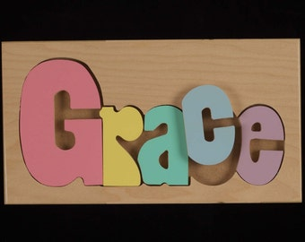 Name Puzzle, Custom Name Puzzle, Baby Gift, Nursery, Wooden Name Puzzle, Baby Gift, Handmade Wooden Name Puzzle, Toy, Toys, Puzzle, Wood