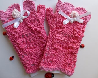 Girl Cotton Gloves plus Headband Crocheted Ready To Ship Victorian Fingerless Summer Children Lace Evening Hand Knitted Pink Corset CB5