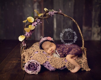 Plum Stretch Lace Wrap Newborn Photography Prop Baby Swaddle