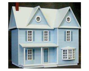 Wooden Dollhouse Kit, Spacious Country Farmhouse, Half Inch Scale