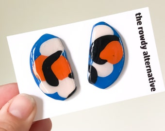 Small Abstract Camo Art Stud Earrings | Clay with Resin Overlay | Blue with Orange, Peach + Black