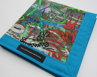 EDC Hank Graffiti Art Fabric with Vibrant Teal Blue Border Handmade Handkerchief Every Day Carry Hank Men's Style Pocket Essentials