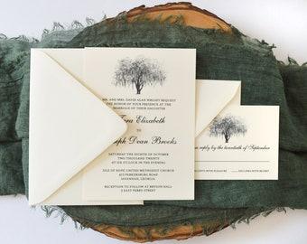 Hunter Oak Wedding Invitation Suite- Ivory and Black - Sample Invite - Southern Bride - Live Oak Tree Illustration - Hunter Army Airforce