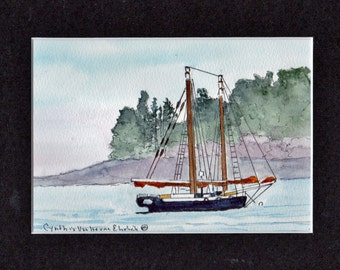 SailBoat Anchored Maine Fog  #24 Maine Watercolor-Seascape-Wedding-Man Gift-Art Collector-Original-Boyfriend Gift-Bar Harbor-Camden-Ocean