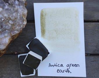 Antica Green Earth. Half or Full pan of handmade Antica Green Earth watercolor paint
