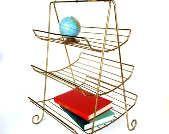 Mid-Century  Modern Gold Metal Book or Magazine Stand