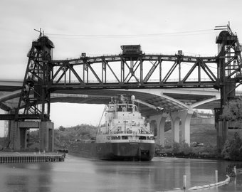Black and White Cleveland Cuyahoga River Photo