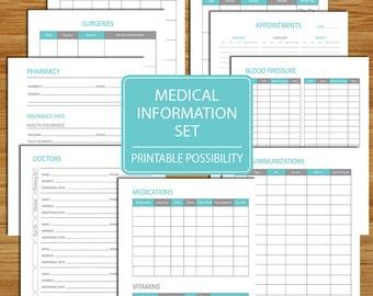 Medical Information Packet - Printable Set to Track Your Doctor and Medical Information including Blood Pressure, Medications, Doctor Visits