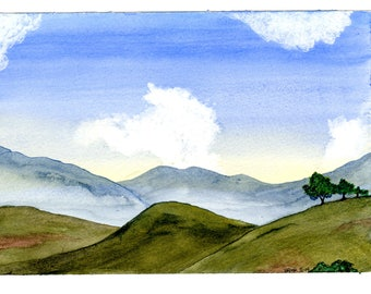 Mountains and sky print