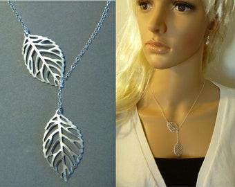 Leaf Lariat Necklace - Lariat Jewelry - Bridesmaid Gift - Wedding - Everyday - Silver - Birthday