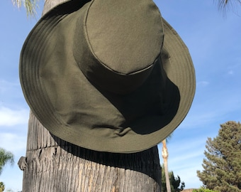 Dark Olive Wide Brim Sun Hat Winter Hat Christmas Gift for Her Gardening Sunhat Vacation Travel Green by Freckles California