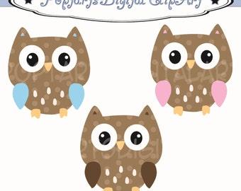 Brown Polkadot Baby Owl Cuties - Clip Art Digital Files - 3 images