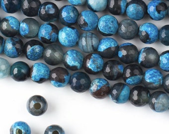 1 strand Large Hole Agate Beads 8mm Faceted Round, 2.5mm Hole