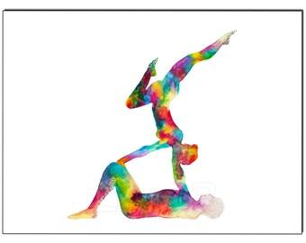 The balance - Acroyoga - Fine Art Giclee Print watercolor painting - Yoga gift