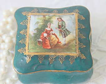 Vintage  Porcelain Green Trinket Box, Courting Couple Decor