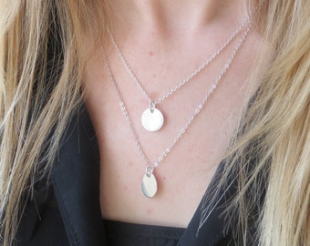Minimalist Long Layering Silver Necklace in Sterling Silver. Delicate Layering Necklace. Sterling Silver oval pendant necklace.