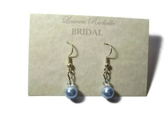 Wedding earrings for bridesmaids - Pearl earrings wedding - Blue pearl earrings - Something blue - Bridesmaid gifts - Bridesmaid jewelry