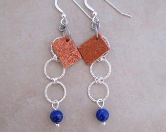 dont be blue lapis lazuli earrings copper sterling silver dangle