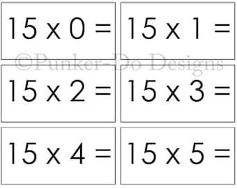 Multiplication - MATH - flash cards - 1x-15x - Instant Download Printable PDF - by Punker-do Designs - Classroom & Homeschool