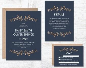 Blue Wedding Invitation Template, Navy Blue Wedding Invitations, Wedding Invitation Printable, Floral Wedding Invite, Vintage Wedding