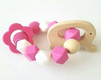 Pink Elephant Teething Toy, 100% Food Grade Silicone Beads, Sensory Beads, Silicone Teethers, Wooden Elephant Teether
