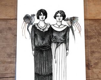 Siamese Twins, 8 by 10 Inches, Fine Art Print of Original Illustration, Animals, Birds, Dark, Fairy Tales, Twins, Victorian