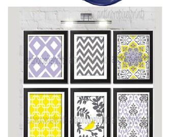 Yellow Liliac Grey Modern Inspired  Chevron Bird Ikat Art Prints Collection  -Set of 6 - 8x10 Prints - UNFRAMED)