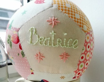 Personalised unique handsewn patchwork baby ball for baby girl christening gift toy rattle, hand stitched baby gift