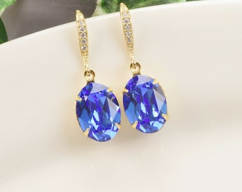 Cobalt Blue Earrings - Swarovski Crystal Drop Earrings - Sapphire Earrings - Gold Earrings - Royal Blue Earrings - Bridesmaid Jewelry