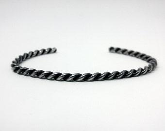 Navajo Silver Rope Design Cuff Bracelet c. 1940, size 6.0 Gorgeous Heavy Patina