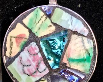 Pottery Chard Mosaic Pendant