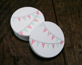 Set of 12 - Letterpress Printed Pennant Coasters (Pink + Mint Green)
