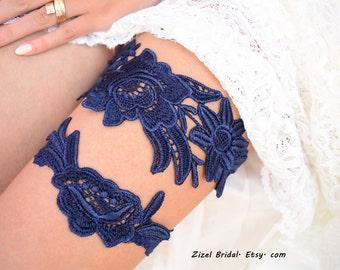 Navy Blue Garter, Wedding Garter, Lace Wedding Garter, Wedding Garter Set, Something Blue, Garter, Blue Garter, Bridal Garter, Navy Garter