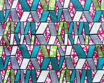African wax fabric with 0.50 m turquoise, green, fuchsia