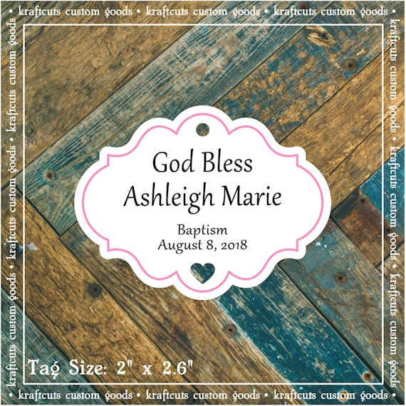 Personalized Baptism, Christening or First Communion God Bless Religious Favor Tags - Baby Girl Pink Border #765 - Quantity: 30 Tags