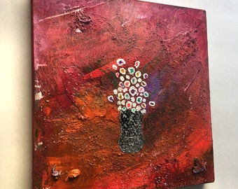 9 x 9 inches Flowers Abstract Art Acrylic Painting on wood Ready to hang with hanger Contemporary Mixed Media Modern Paint Wall Original