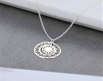 Sterling Silver Ornate Disc Necklace