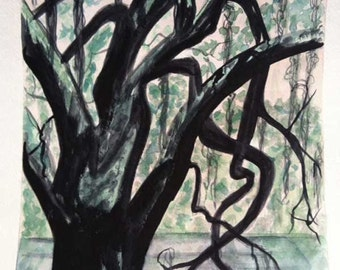 SALE Southern Oak, 11 x 14 PRINT of original watercolor painting, impressionist southern art