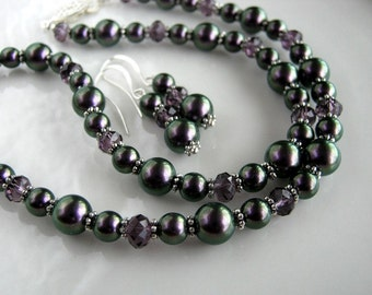 Iridescent Purple Pearl Necklace Set with Matching Earrings Swarovski Purple Pearl Necklace (18.25 inches)