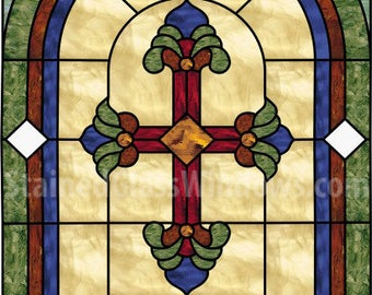 Beautiful!  Cross Leaded Stained Glass Window Panel (We do custom work! Please email me for a quick quote)